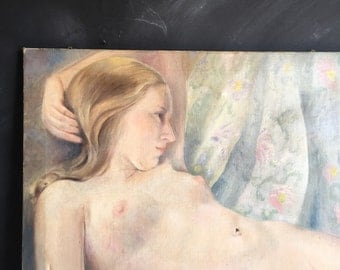 Antique Oil Painting, Nude Reclining Female, Vintage Wall Art Gallery