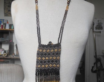 """Beaded Necklace Pouch w/ Dancing Bells - Black / Chocolate Brown / Brass / Gold - Extra Large Size 14 x 7.5 cm. (5""""x 3"""") - OlyTeam"""