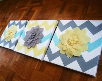 Set of 3 Felt Flower Canvases (Pick Your Custom Color)