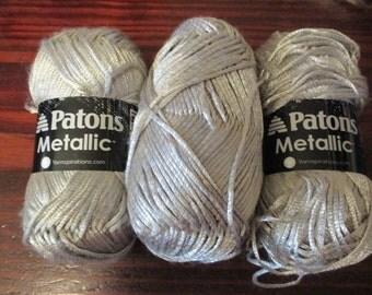 Paton's Mettallic 3 Skeins Platinum Matching Dye Lot Silver Grey Metal Look Yarn
