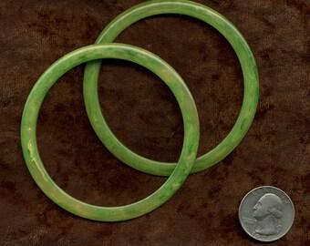 ART Deco BAKELITE Bangle Bracelets PAIR Mottled green VinTAGE
