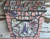 Mosaic Letterbox Mailbox - Broken China Mosaic Letter Box - Paris France Cafe Pink