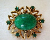 Valentines Day Sale Vintage peking glass brooch or pin oval with green cabochon and rhinestones