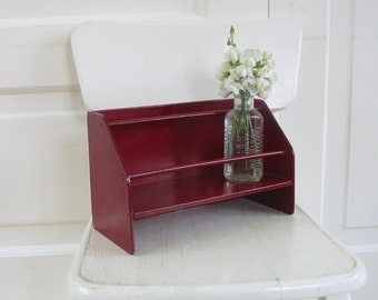 Vintage Red Wood Shelf, Vintage Shelf, Red Shelf, Wood Display, Display Shelf