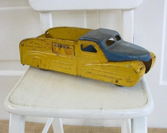 Vintage Metal Toy Truck, Yellow Blue Truck, Pick Up Truck, Industrial Decor, Antique Truck