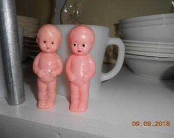 Set of 2 vintage Celluloid Naked Baby Dolls 3 1/4 inch
