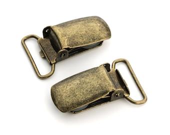 "100pcs - 3/4"" Suspender Clip - Antique Brass - Free Shipping (SUSPENDER CLIP SPN-110)"