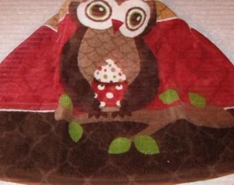 Crochet Kitchen Hanging Towel, Large owl, Ritz design, Burgundy top