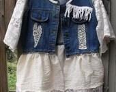 Denim Vest/Tunic/Jacket/Lace/Muslin/Fringe/Embellished Fun Wear