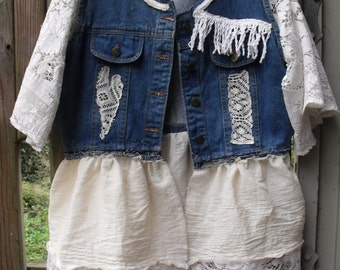 Lace and Denim Tunic/ Funky Deco Jacket/ Denim-Lace-Muslin Tunic/ Funky Patched Tunic/ Sheerfab Funwear