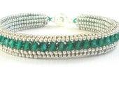 emerald crystal bracelet sterling silver seed bead bracelet swarovski cryal jewelry sterling silver bracelet birthstone bracele