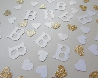 White Monogram Confetti, Wedding Shower Decor, Wedding Reception Table Scatter, Bridal Shower Decoration, Glitter Hearts