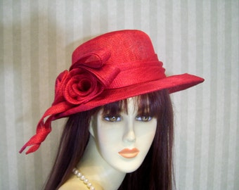 Red Kentucky Derby Hat, Red Hat Society Hat, Sinamay Hat, Preakness, Belmont, Ascot Races Hat