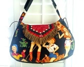 Reserved for Pam, 2 of 3, Rockabilly saddle bag, cell phone pouch, cosmetic wallet clutch
