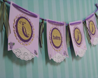Twins Baby Banner Baby Shower Decoration Sweet Peas Purple Lilac Green Velvet Rope Sweet Pea