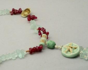 Starfish Pendant, Starfish Necklace, Starfish Jewelry, Casual Beach Necklace, Nautical Ocean Jewelry, Ceramic Necklace, Aqua Necklace, Gift