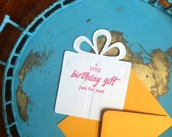 Present Birthday - Letterpress Die Cut Card