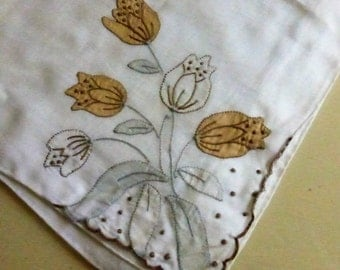Vintage Mid Century  Handkerchief Appliqued and Embroidered with Flowers