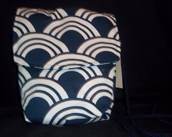 892 Navy Blue and White  Shopper Cross Body Bag