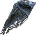 Knit Shawl With Fringe - Boho Scarf - Wool Wrap - Shoulder Warmer - Color Waterworld
