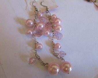soft pink dangle earrings