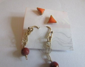 orange triangle stud and small red dangle earrings set