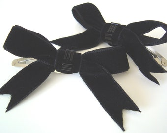 Black Velvet Bow Hair Clips, Two Beaded Black Ribbon Hair Clips, Teen Hair Bow Clips, Childrens Snap Hair Clips, Womens Retro Style Clips