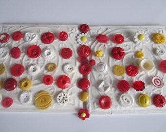 Vintage Buttons - Cottage chic mix of red yellow and white lot of 58 old and sweet(apr 131b)