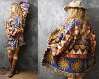 Vintage Fringe Blanket Coat Tapestry Jacket Southwestern Aztec Woven Dress Coat Sunface Sun Reversible Pockets Bohemian Hippie Majik Horse