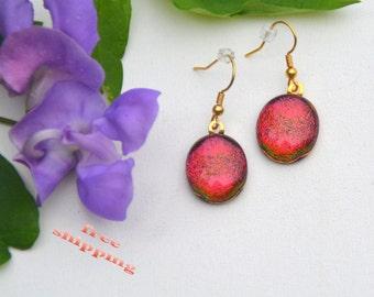 115 Fused dichroic glass earrings oval, red, orange, purple