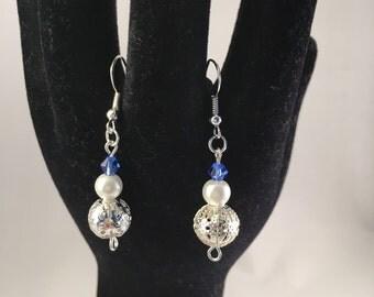 Glass Pearl, Bicone & Filigree Bead Dangle Earrings