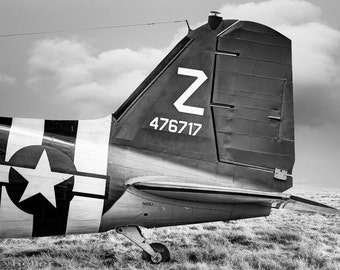 Black and White Photograph of the Tail Section of the Douglass C-47 Skytrain, Gooneybird, Military Aircraft, Fine Art Photography Print