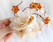 bridal hair piece, orange hair clip, bridal flower hair clip, ivory flower hairpiece, bridal hair accessories, floral hair comb