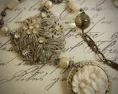Heaven Scent-Antique Vintage Floral Rhinestone Dress Clip and Rhinestone Buckle Assemblage Necklace