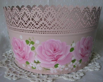 Round Lace Pink Tub Hand Painted Pink Roses Bath Kitchen Storage Cottage Chic