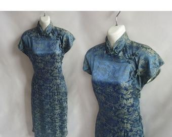 Vintage 50s Cheongsam Dress Size L Blue Japanese Silk Mandarin Horses Garden