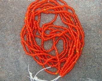 Size 16/0 Vintage Antique Micro Seed Beads - Transparent Red Pepper