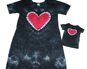 Matching Girl and Doll Dress Set with a Tie Dye Heart- you choose the color- Doll Dress Fits 18 and 15 inch dolls