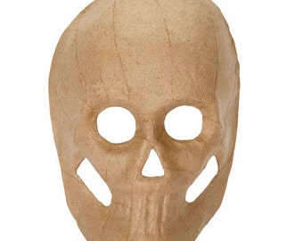 Paper Mache  Halloween Skull unfinished blank 8 1/2 inches day of the dead DIY decoration, crafts supplies