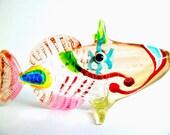 Tropical Ocean Marine Cartoon Brown Fish Hand Blown Art Glass Animal Figurine Statue Collectible Gifts