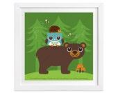 220 Bear Nursery Print - Bear Owl and Hedgehog in Forest Wall Art - Bear Print - Bear Poster - Owl Print - Baby Boy Woodland Nursery Decor
