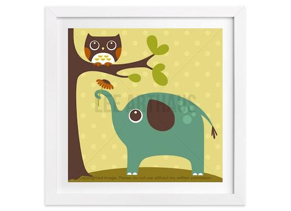 98 Elephant Nursery Print - Owl and Elephant Wall Art - Elephant Print - Elephant Decor - Elephant Art Nursery - Elephant Nursery Decor