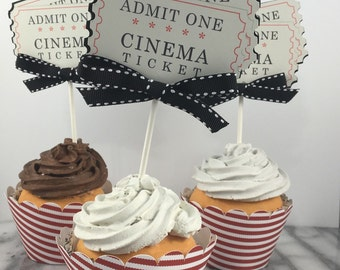 Cupcake Toppers, Movie Night Ticket Toppers set of 12, Movie Theme Party, Movie Theme Birthday, Carnival Theme Birthday, Circus Theme