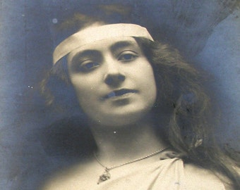 1900s French Postcard, Edwardian lady as a goddess, RPPC real photo, paper ephemera.