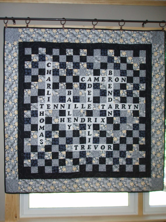 Scrabble/Crossword Puzzle personalized quilt with family or group names-CUSTOM ORDERS