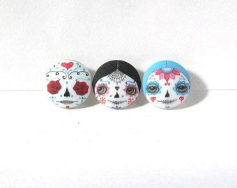 Day of the Dead Buttons, Sugar Skull Buttons, Sewing Buttons, Face Buttons, Covered Buttons, Halloween Buttons