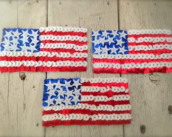 """Sale-AMERICAN FLAG SEQUIN Applique-Red White and Blue- 2""""x4"""""""