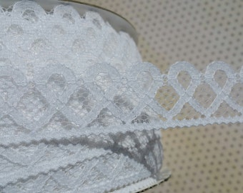 "White Lace Trim - Flat Raschel Loop Lace - Sewing Crafting Bridal Laces - 1"" Wde"