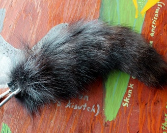 Raccoon tail - real eco-friendly blue dyed raccoon fur totem dance tail on extra strong carabiner keychain for shamanic ritual dance R10