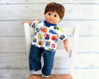 Boy Doll Clothes ABCs Tee Shirt and Cargo Pants, Bitty Baby Clothes, fits American Girl Bitty Twin Boy